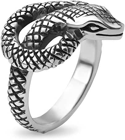 925 Oxidized Sterling Silver King Cobra Coil Snake Band Ring Men Women Unisex Size 6, 7, 8